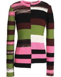 Opening Ceremony - Asymmetric Color-block Ribbed-knit Top - Lyst