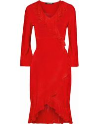 Roberto Cavalli - Wrap-effect Ruffle-trimmed Knitted Dress - Lyst