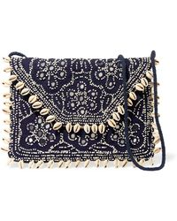 Antik Batik - Embellished Embroidered Cotton-canvas Clutch Midnight Blue - Lyst