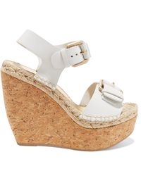 Paloma Barceló - Nicole Buckled Leather And Cork Wedge Sandals - Lyst