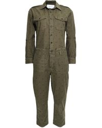 Current/Elliott - Woman Cropped Polka-dot Cotton-blend Jumpsuit Army Green - Lyst