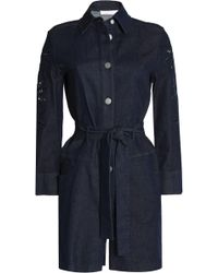 See By Chloé - Broderie Anglaise-trimmed Denim Playsuit Dark Denim - Lyst
