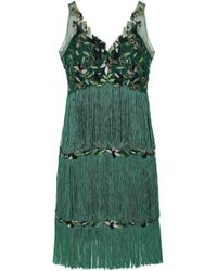 Marchesa notte - Woman Tiered Fringed Embellished Tulle Dress Emerald - Lyst