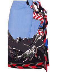 Emilio Pucci - Warp-effect Printed Crepe Skirt Sky Blue - Lyst
