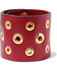 RED Valentino - Eyelet-embellished Leather Cuff - Lyst