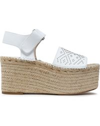 Paloma Barceló - Beaded Leather Wedge Platform Espadrilles - Lyst