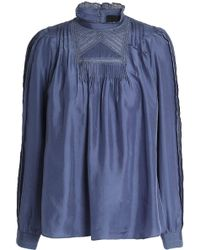 Needle & Thread - Lace-trimmed Silk Blouse - Lyst