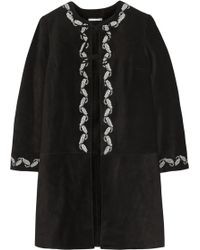 AG Jeans - The Walker Embroidered Suede Coat - Lyst