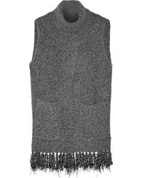 Thakoon - Addition Fringed Split-front Knitted Sweater - Lyst