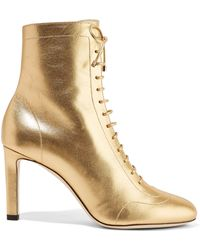 fee29f836d4 Jimmy Choo - Woman Daize 85 Lace-up Metallic Leather Ankle Boots Gold - Lyst