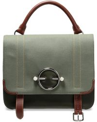 JW Anderson - Woman Twill-paneled Leather Shoulder Bag Army Green - Lyst