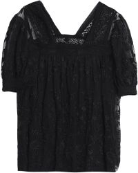 Needle & Thread - Embroidered Tulle Blouse - Lyst