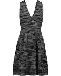 M Missoni | Open Knit-paneled Striped Stretch-knit Mini Dress | Lyst