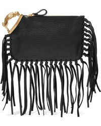 ce0be5388d Valentino - Woman Gryphon Fringe-trimmed Textured-leather Clutch Black -  Lyst
