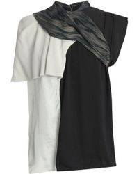 Rick Owens - Panelled Cotton-jersey, Crepe And Taffeta Top - Lyst