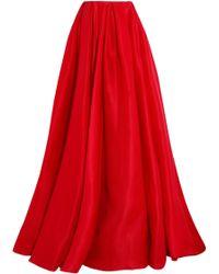 Reem Acra - Pleated Silk-gazar Maxi Skirt - Lyst