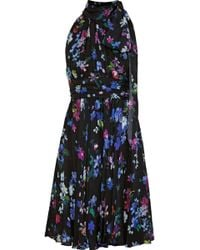 MILLY - Woman Lydia Pleated Floral-print Silk Crepe De Chine Dress Black -  Lyst e778a37fa