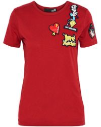 Love Moschino - Appliquéd Cotton-jersey T-shirt - Lyst