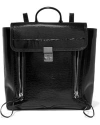 3.1 Phillip Lim - Pashli Patent Textured-leather Backpack - Lyst