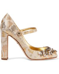 Dolce & Gabbana | Embellished Metallic Brocade Pumps | Lyst
