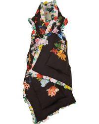 Preen By Thornton Bregazzi - Woman Reversible Ruffle-trimmed Printed Silk Crepe De Chine Vest Black - Lyst