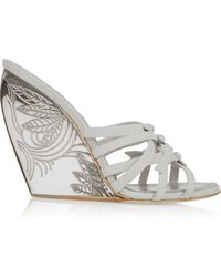 Donna Karan | - Tiberias Suede And Perspex Wedge Sandals - White | Lyst