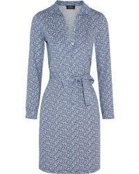 A.P.C. - Printed Cotton-jersey Dress - Lyst