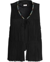 Talitha - Fringed Embroidered Suede Vest - Lyst
