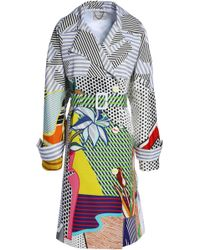 Mary Katrantzou - Woman Double-breasted Printed Cotton-blend Coat White - Lyst