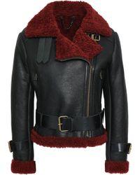 Muubaa - Woman Shearling-trimmed Leather Biker Jacket Black Size 6 - Lyst