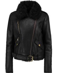 Yves Salomon - Shearling-trimmed Leather Biker Jacket - Lyst