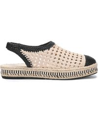 Tory Burch - Two-tone Woven Leather Slingback Espadrilles - Lyst