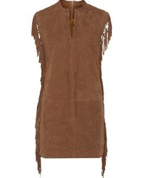 W118 by Walter Baker | - Kira Fringed Suede Mini Dress - Tan | Lyst