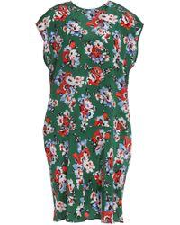 MSGM - Floral-print Silk Crepe De Chine Mini Dress - Lyst