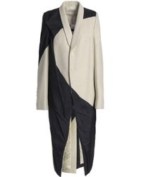 Rick Owens - Woman Panelled Wool-blend And Shell Coat Ecru Size 40 - Lyst
