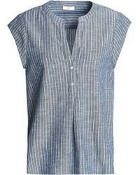 Joie - Striped Cotton-chambray Top - Lyst