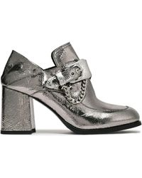 McQ - Woman Buckled Metallic Leather Pumps Silver - Lyst