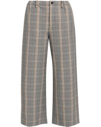 Maje - Woman Prince Of Wales Checked Woven Culottes Gray Size 34 - Lyst