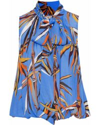 Emilio Pucci - Printed Silk Crepe De Chine Top Light Blue - Lyst