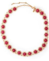 Kate Spade - Woman Gold-tone Crystal Necklace Magenta - Lyst
