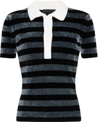 Alexander Wang - Metallic Striped Chenille Polo Shirt - Lyst