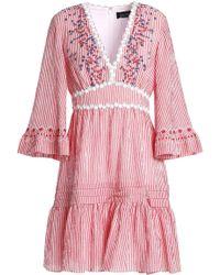 Saloni - Embroidered Striped Cotton-blend Seersucker Min Idress - Lyst