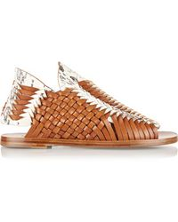 Daniele Michetti - - Woven Leather And Elaphe Sandals - Tan - Lyst