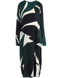 Marni - Printed Satin-twill Midi Dress - Lyst