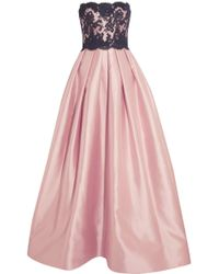 Reem Acra - Strapless Silk-blend And Lace Gown - Lyst