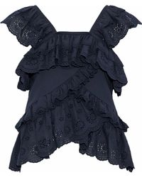 Goen.J - Ruffled Broderie Anglaise Cotton-voile Top - Lyst