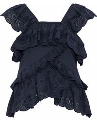Goen.J - Woman Ruffled Broderie Anglaise Cotton-voile Top Storm Blue - Lyst