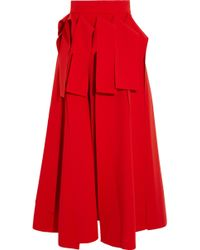 Awake - Draped Crepe Midi Skirt Tomato Red - Lyst