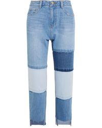 SJYP - Patchwork Cropped High-rise Straight-leg Jeans - Lyst