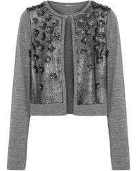Elie Tahari - Alena Embellished Metallic Suede-paneled Merino Wool Cardigan - Lyst